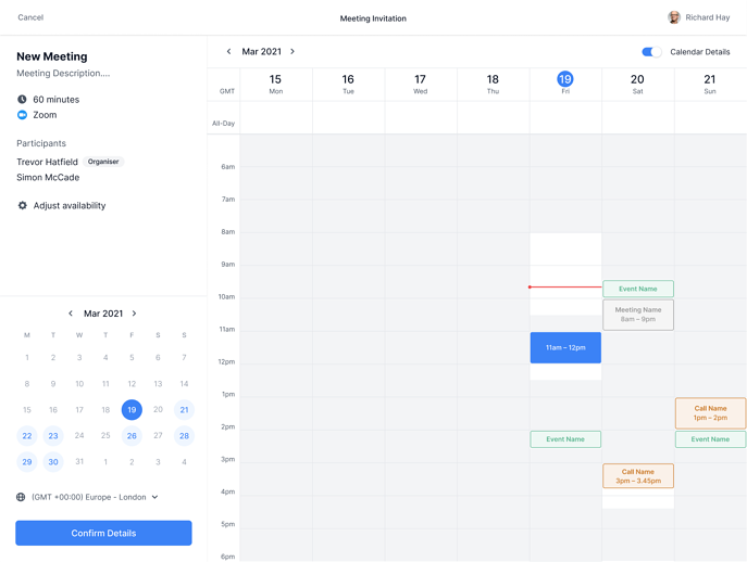 Bookable Link Calendar